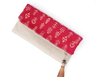 Fold Over Clutch, Foldover Clutch, Fuschia Pink Batik Print, Cotton Linen, Evening Clutch, Folded Handbag