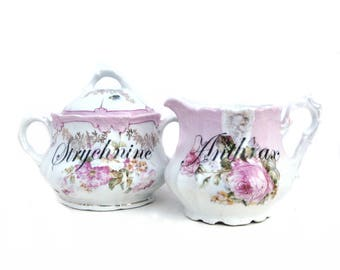 SALE - Damaged - Anthrax and Stychnine Sugar Bowl and Creamer