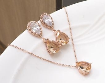 Bridesmaid gift set- Champagne necklace, Champagne earring, peach necklace,cubic zirconia earring,glass stone, rose gold necklace