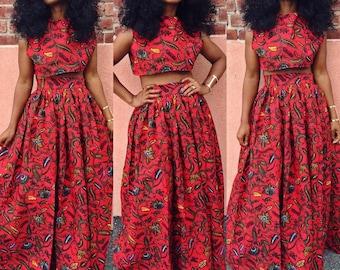 African crop top and maxi skirt, African top, African skirt, Maxi skirt, African fabric, African clothing, Ankara print