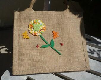 burlap bag for children, deco flower cotton and felt lining in cotton bag