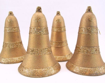 Vintage Cardboard Bells Eggcrate Composite Christmas Decorations Gold