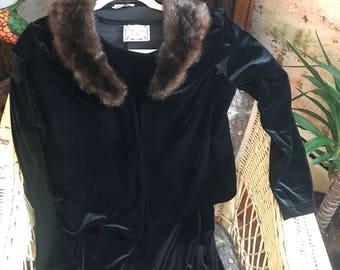 Vintage Size Medium Black Velvet Dress and Jacket