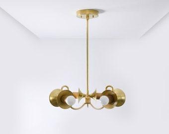 Raw Brass Gold Modern Chandelier Curvy Arm 6 Trumpet Cover Light Pinwheel Sputnik Mid Century Industrial Hanging Light UL Listed