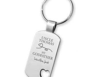 Engraved Thank you for being my GODFATHER keyring gift, heart cut out keyring - 5583GD2