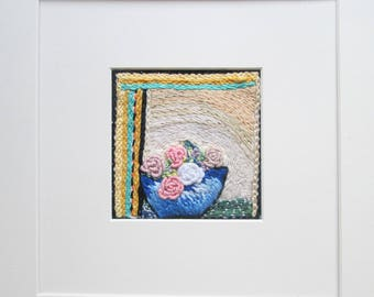textile wall art, embroidered rose bowl, ready to frame