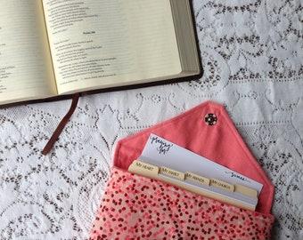 Prayer Card Set in Handmade Clutch: Raspberry Drops