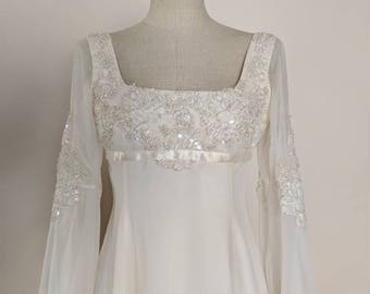 Vintage 1970s Ivory and Gold Empire Waist Bell Sleeve Wedding Dress V-001