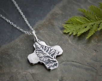 Fern Necklace, Cross Pendant, Botanical Jewelry, Nature Necklace,Plant Pendant, Fine Silver Pendant, Sterling Silver Chain, Artisan Handmade
