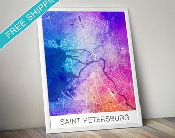 Saint Petersburg Map Print - Map Art Poster with Watercolor Background