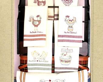 The Hen Delivers Tea Towels Machine Embroidery CD Design, Formats dat, hus, jef, pes, vip, vp3, exp