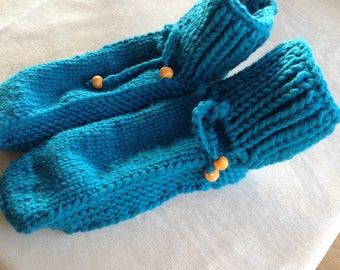 Slippers handknitted ladies gorgeous turquoise slippers size 5 handknitted slippers with spotty bead laces. Perfect mothers day gift