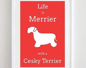 Cesky Terrier Print - Dog Print - Dog Picture - Dog Art - Dog Breed - Illustration