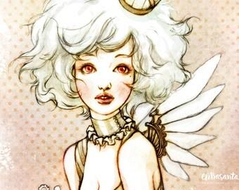 Pájaro Steampunk - Ilustración A4
