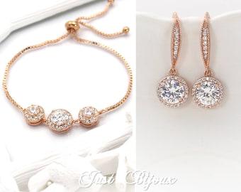 Wedding Earrings Bracelet Rose gold plated Zirconia Earrings Bracelet Wedding Jewelry Bridal Earrings Bridesmaid Bracelet Bridesmaid Gift