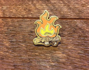Campfire Enamel Pin, Camping Pin, Single Hard Enamel Pin with Butterfly Clutch