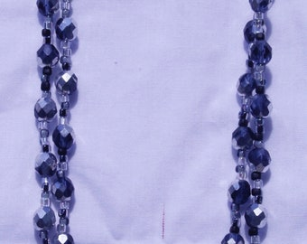 2 strand black faceted necklace