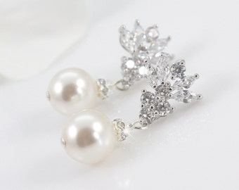 Ellena - Wedding Earrings, Bridal CZ Earrings, Crystal And Pearl Earrings, Wedding Jewelry, Cubic Zirconia, Bridesmaids Earrings