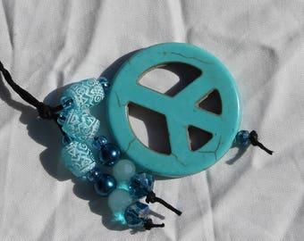Braided Hemp Bookmark - Turquoise Blue Peace