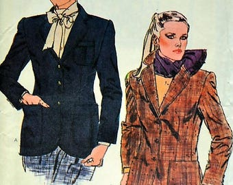 Vintage Vogue  7800  Jacket Vintage 1980s  Vogue Sewing Pattern, Size 8 Misses'Uncut Factory Folded