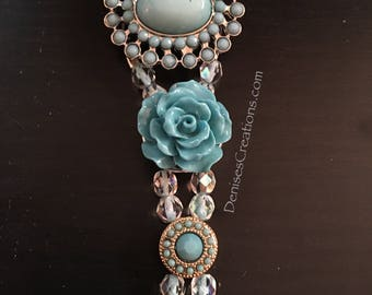 Aqua Blue Resin Roses & Filigree Beaded Bracelet by DENISE'S CREATIONS