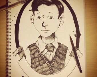 Jarred Grace Spiderwick Chronicles hand drawn portrait print