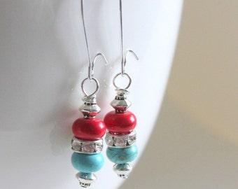 Turquoise Earrings, Turquoise Jewelry, Red Earrings, Statement Earrings, Country Living Fair, Dangle Earrings, Southwestern Earrings