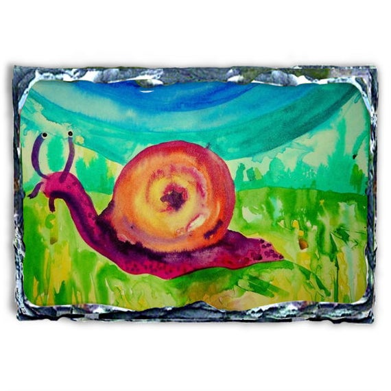 "Beautiful Archival Print, MR SLOW-KUM, a debonair snail, printed on a 7.8 x 11.7"" Slate Panel"