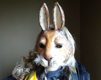 Paper mache rabbit mask, rabbit costume, bunny mask, bunny costume, animal mask, masquerade mask, masquerade men, papier mache mask