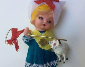 ON SALE Flocked Christmas Ornament Mary Had a Little Lamb Children's Nursery Rhyme 1960s retro
