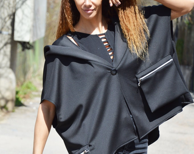 Black Hooded Neoprene Sleeveless Jacket, Maxi Pockets with Zipper, Extravagant Neoprene Sweatshirt by SSDfashion
