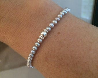 Skinny grey Freshwater seed Pearl STRETCH Bracelet with Sterling Silver beads