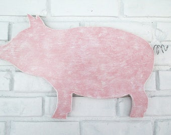 Rustic Pink Pig Sign Wall Decor Wood Pig Country Farm Kitchen Folk Art #5500