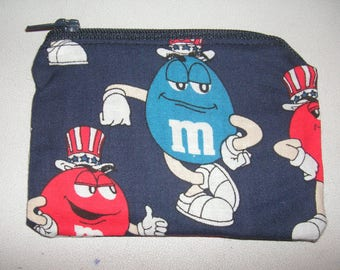 Fourth of July red handmade Coin/change purse made w/ M&M'S Licensed Fabric card holder