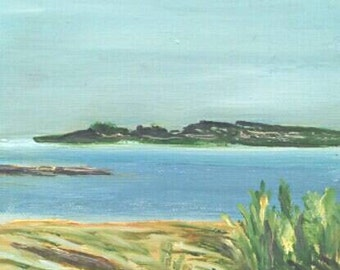 Original Maine Painting Oil on Canvas 5 x 5 Timber Island View at Goose Rocks Beach Kennebunkport Maine Kathleen Daughan Artist Plein Air