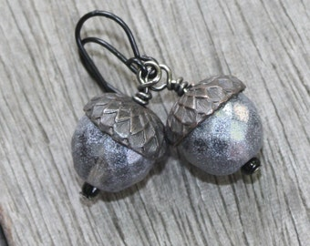 First Frost Acorn Earrings - Czech Bead Earrings - Gray Acorn Earrings - Rusty Black Findings, czech earrings, woodland earrings