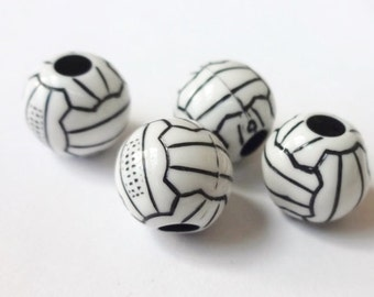 25, Volleyball, Acrylic  Beads 11x12x12mm Hole:3.9mm