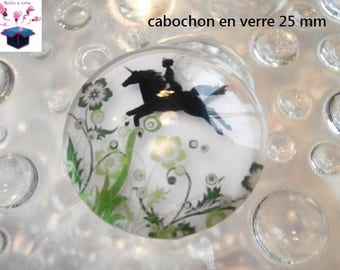 1 cabochon clear 25 mm round theme Elf / fairy