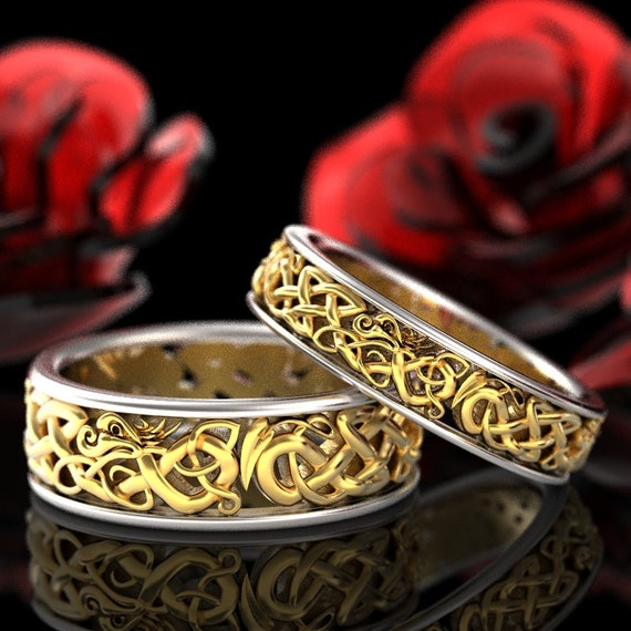 RESERVED FOR scarletrose1277 14K 2-Tone Gold Celtic Dragon Ring Set, Matching Wedding Rings, Dragon Wedding Set, Custom Size 1172