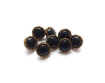 4 Black & Copper Gold Vintage Plastic Buttons