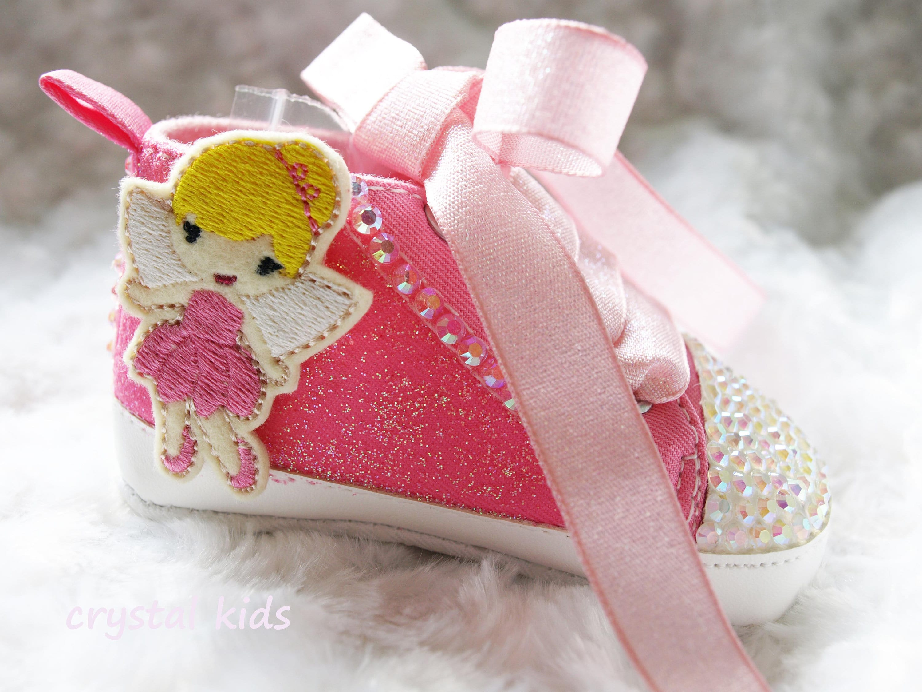 Gorgeous Baby Girls Shoes Pink Sparkly Fairy Shoes Reborn