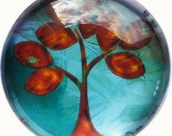 2 cabochons craft tree 3 glass 20 mm N16