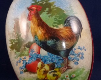 Vintage Rooster Hen with Baby Chicks Nestler Germany Paper Mache Easter Egg Container, 1980s
