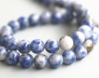 """15 """" one strand ,6mm 8mm 10mm 12mm Blue Spot Beads, Natural And Smooth Round Beads"""