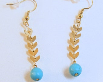 Gold Round Turquoise Arrow Earrings