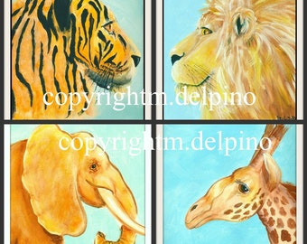 Nursery Zoo Safari Jungle nursery prints elephant lion tiger or giraffe blue brown wild animal art