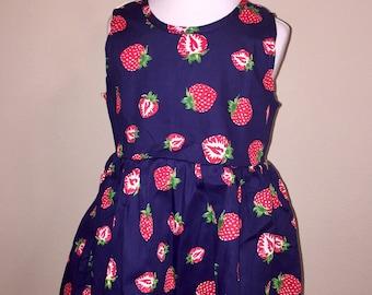 Navy blue strawberry dress