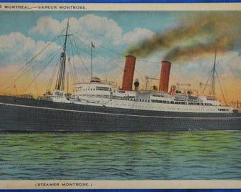 Steamer Montrose Montreal Canada Vapeur 1920s White Border Postcard