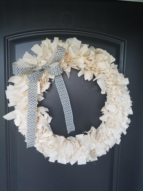 Handmade Farmhouse Muslin Cloth Wreath, Rustic, high quality, custom bow