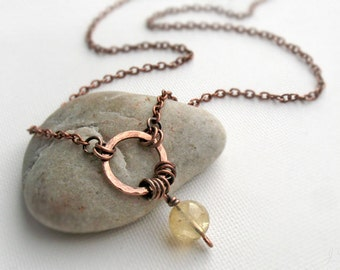 Citrine Necklace, November Birthstone, Prosperity Stone Boho Necklace, Hammered Wire Pendant, Copper Jewelry, Solar Plexus Chakra, Yoga Gift